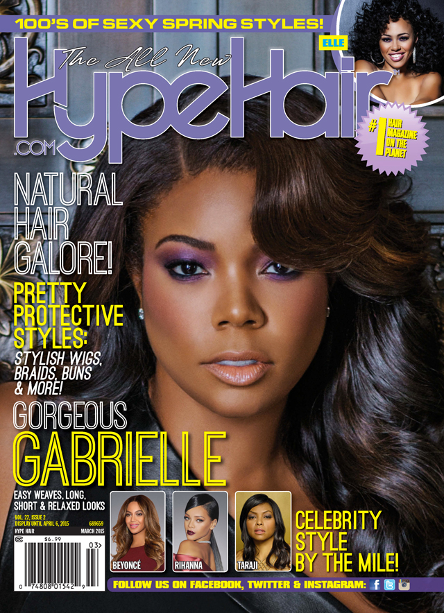 Gabrielle Union Covers Hype Hair Magazine's March 2015 Issue
