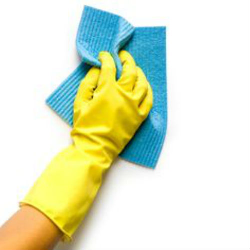 Hands with washing gloves