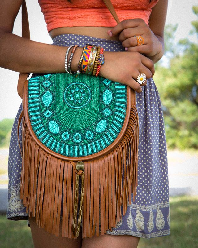 Beaded Fringe Crossbody Purse