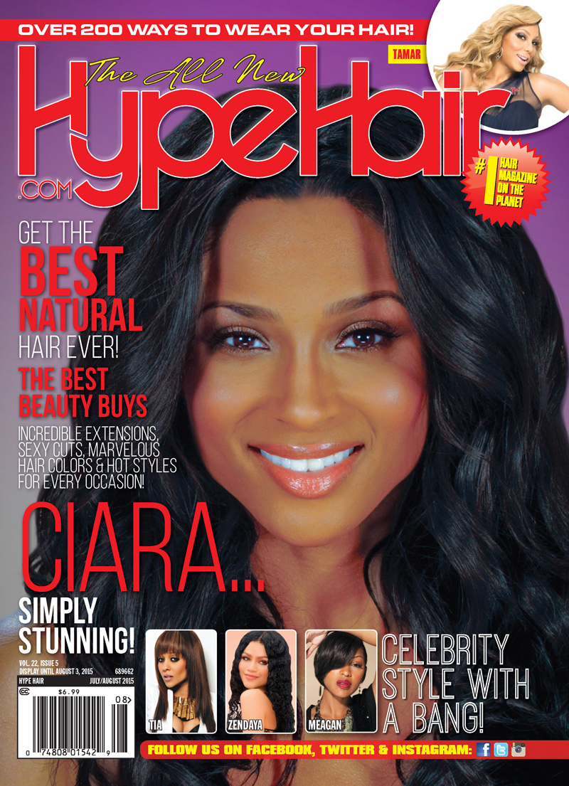 Ciara Covers Hype Hair July/August 2015 Issue