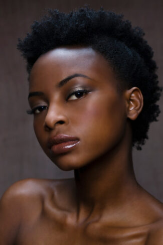 Woman with short afro