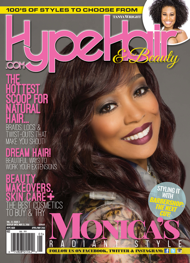 Monica Brown Shines On Cover Of Hype Hair April May 2016