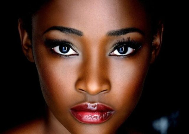 radiant skin and red lip