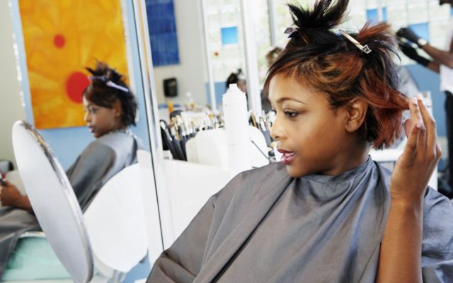woman with straight hair at salon