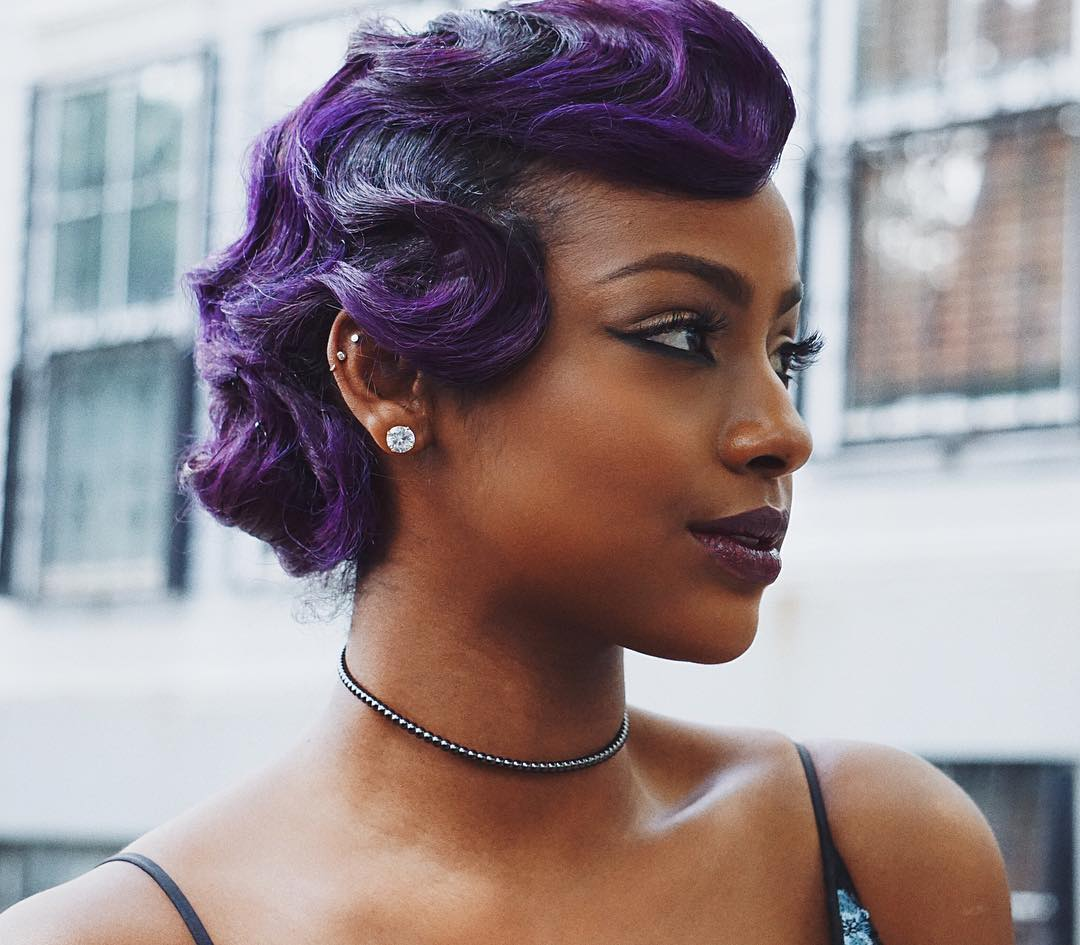 black hair finger wave styles justine wows with purple finger waves 5064