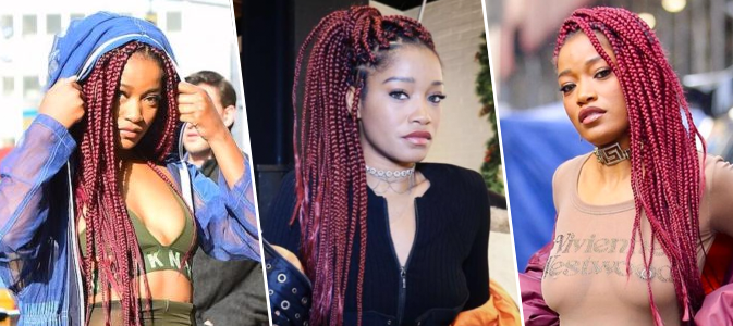 Keke Palmer Is Working The Heck Out Of These Burgundy Braids